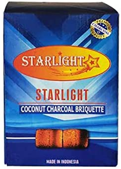 Starlight Charcoal 25mm 100% Natural Coconut Shell Charcoal 1 Kilo (Kg) 72 Piece Flats. (1)