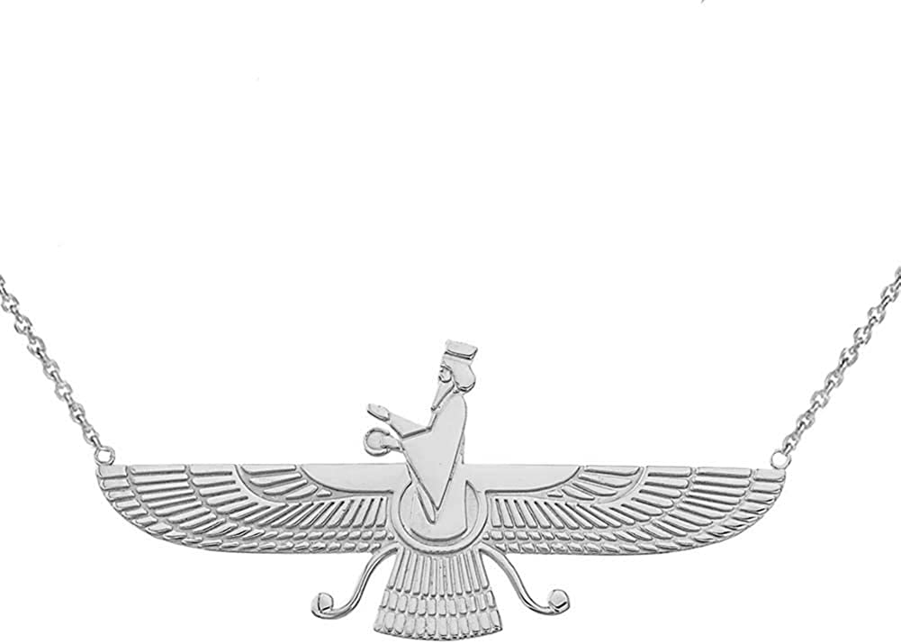 Elegant Sterling Silver Persian Faravahar Necklace