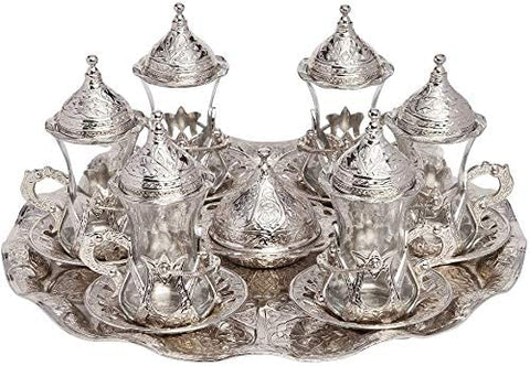 (SET of 6) Turkish Traditional Tea Glasses Set Saucers Holders Set (silver)