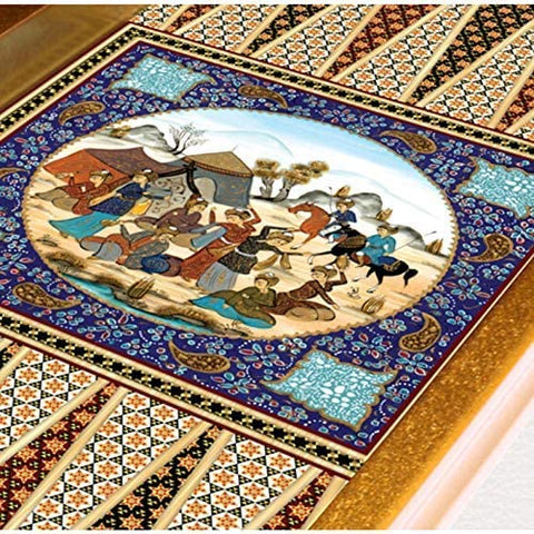 19'' Persian Khatam Pattern Yenigun Backgammon Turkish Premium Board Game Set