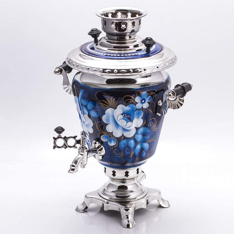 Zhostovo On Blue Electric Samovar Set with Tray & Teapot Russian Samovar