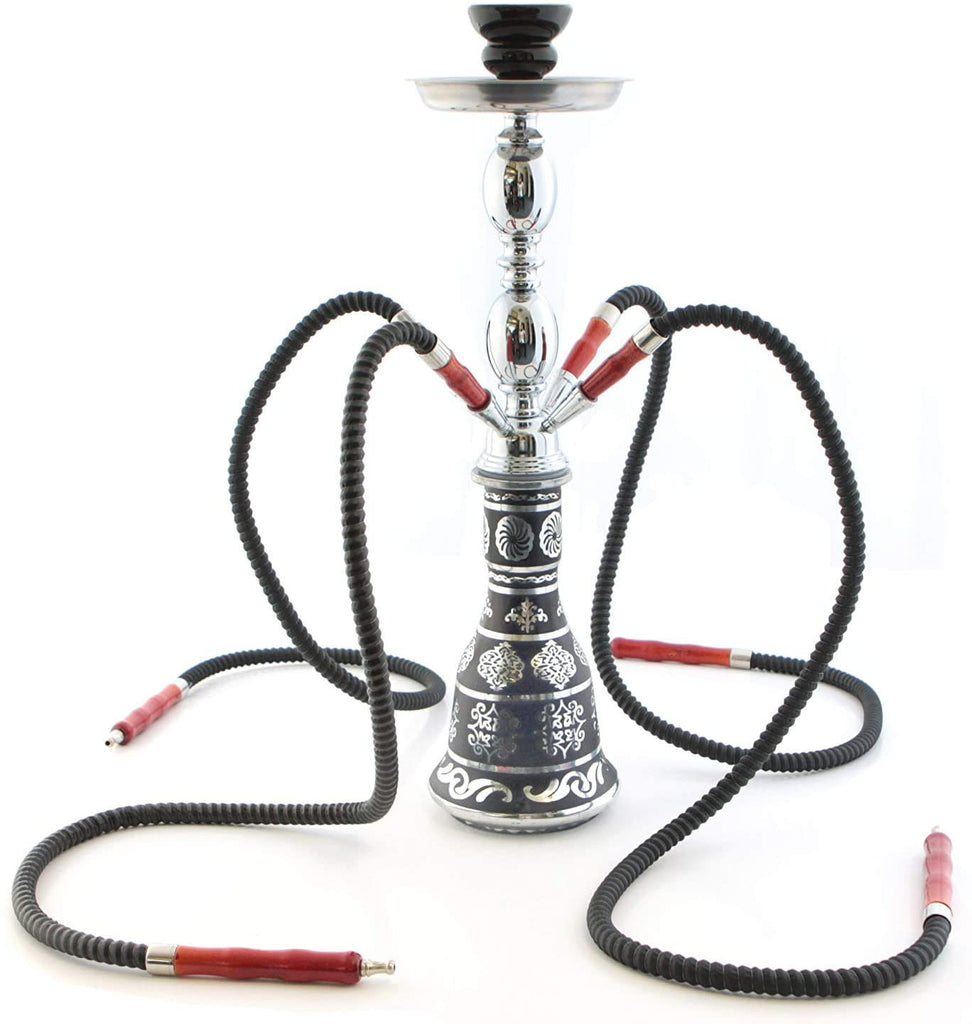 "GStar 18"" 4 Hose Hookah Shisha Complete Set - Metallic Da Vinci Glass Vase - Pick Your Color (Scientia Black)"