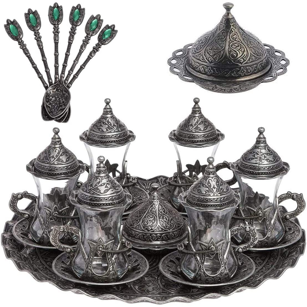 Alisveristime Handmade Turkish Tea Water Zamzam Serving Set Glasses Saucer, Tray and Spoon (Copper)