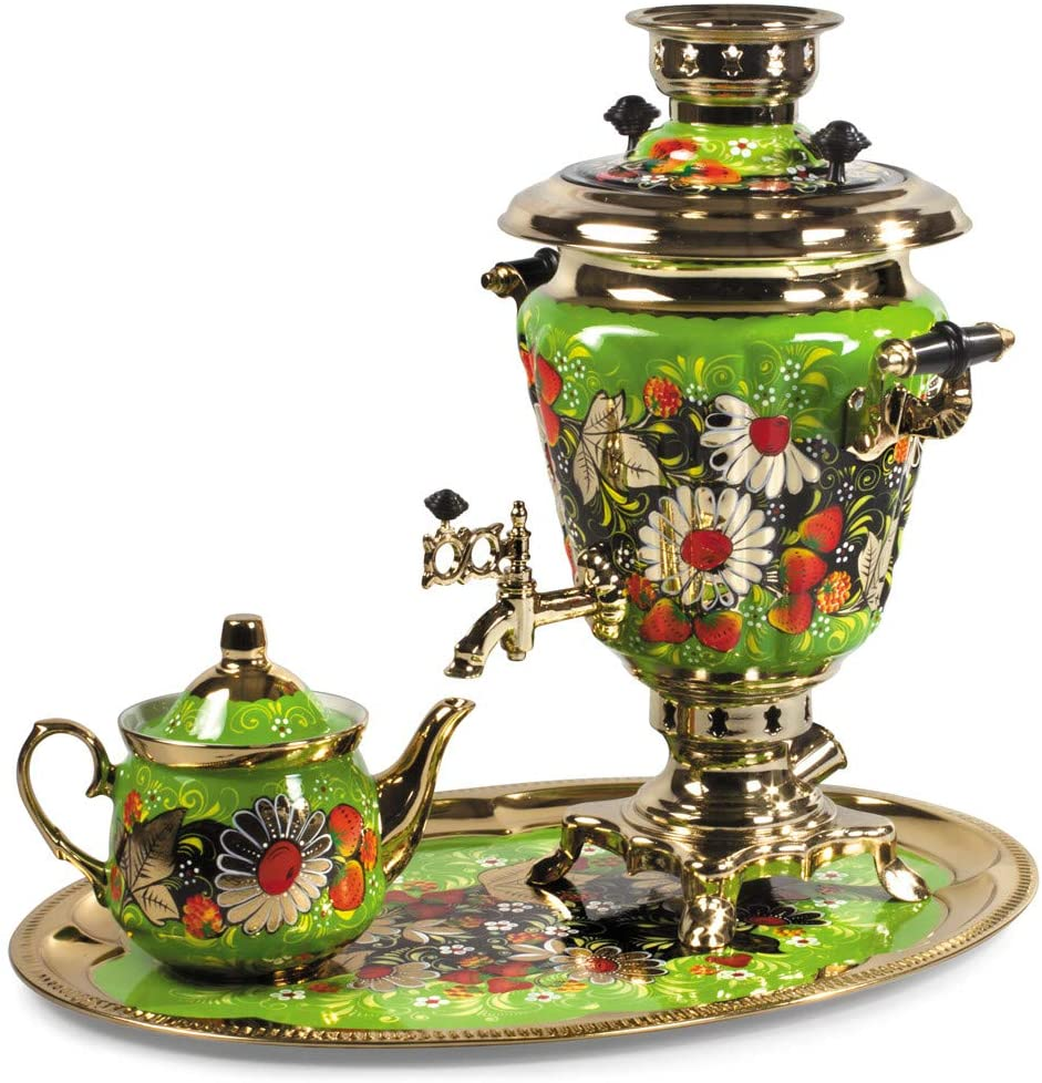 Daisies Electric Samovar Set with Tray & Teapot Russian Samovar