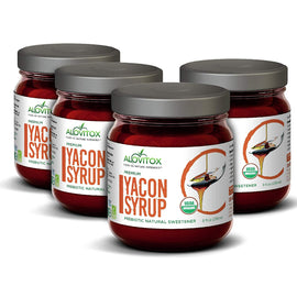 4 Pack Yacon Syrup - 100% Pure Yacon Syrup USDA Organic Natural Sweetener Rich in Antioxidants, Vitamins, Prebiotics