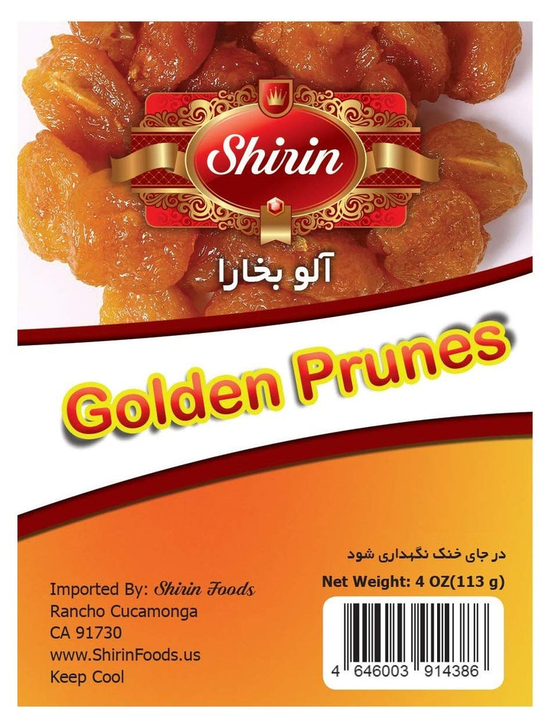 SHIRIN Golden Prunes(Aloo Bukhara),100% Premium Quality ,4 OZ,