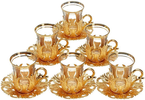 24 Pieces Tea Glasses with Holders Spoons and Saucers Set of 6 - Vintage Tulip Design Ottoman Arabic Gift Set, Gold
