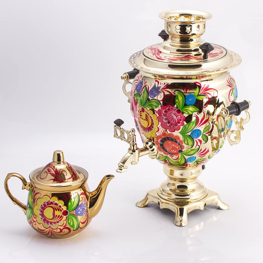 Enchanted Flowers Golden Electric Russian Samovar Tea Maker Set with Tray & Teapot