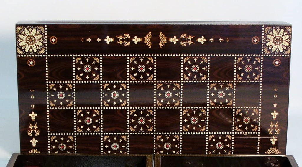 World Wise Imports 19 in. Floral Wooden Backgammon Set with Chessboard