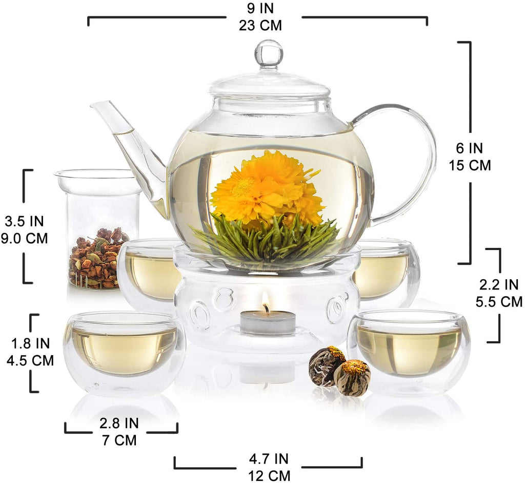 Teabloom Celebration Complete Tea Set – Stovetop Safe Glass Teapot (40 oz. / 1.2 L) with 4 Double-Wall Glass Teacups, Tea Warmer, Removable Loose Tea Glass Infuser & 12 Flowering Teas