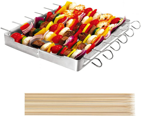 "Unicook Heavy Duty Stainless Steel Barbecue Skewer Shish Kabob Set, 6pcs 13"" L Skewer and Foldable Grill Rack Set."