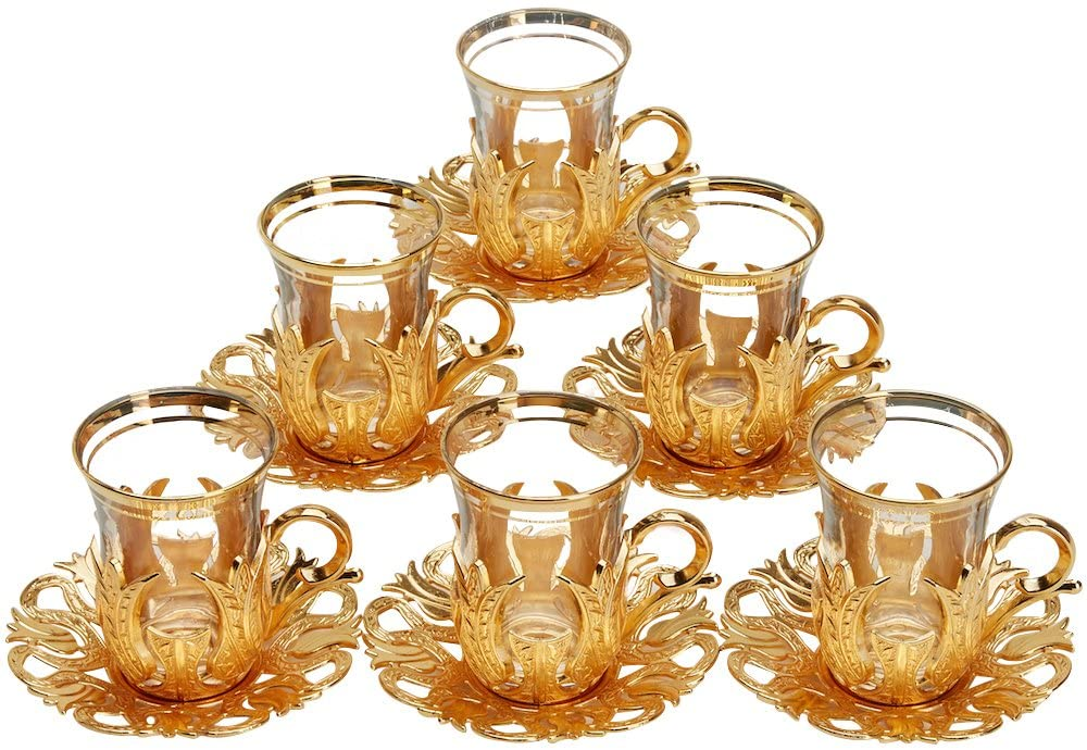 CopperBull 6 X 2018 Turkish Tea Glasses Set with Saucers Holders & Spoons (Gold)