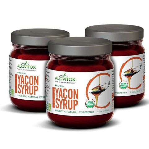 3 Pack Yacon Syrup -100% Pure Yacon Syrup USDA Organic Natural Sweetener Rich in Antioxidants, Vitamins, Prebiotics