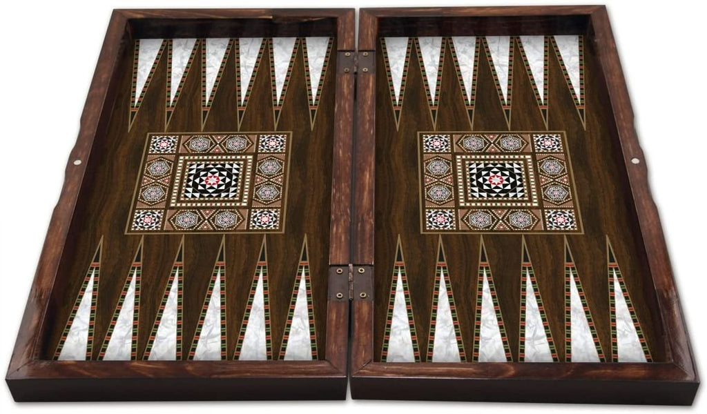 Massive Pearl Wood Magic Star Backgammon and Chess Set Turkish Premium Board Game Set - Special Series , Wood ,