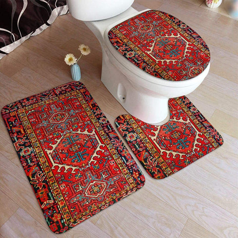 Iran Persian Carpet Oriental Glam  Bathroom Rug Mats Set 3 Piece Soft Non-Slip