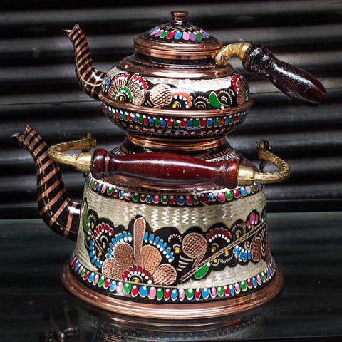 Stovetop Tea Brewer Turkish Copper Teapot for Turkish Black Chai Russian Tea Brewing Kettle Samovar (Black Copper)