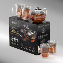 A Unique Tea Set For Adults,tea Pot Set, With 4 Glass Cups, Glass Teapot, Tea Kettles Stovetop, Tea Pot With Infusers For Loose Tea