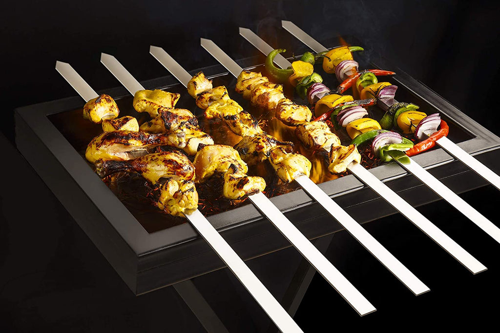 """ Wide Skewers, Long, Thick, Stainless Steel, No-Wood Handle, Set of 6"