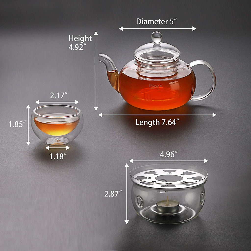 27 oz Glass Teapot Set Stovetop Safe Tea Infuser Maker with a Candle Warmer and 6 Double Wall Teacups,Blooming & Loose Leaf Tea Pot CJ-800ml