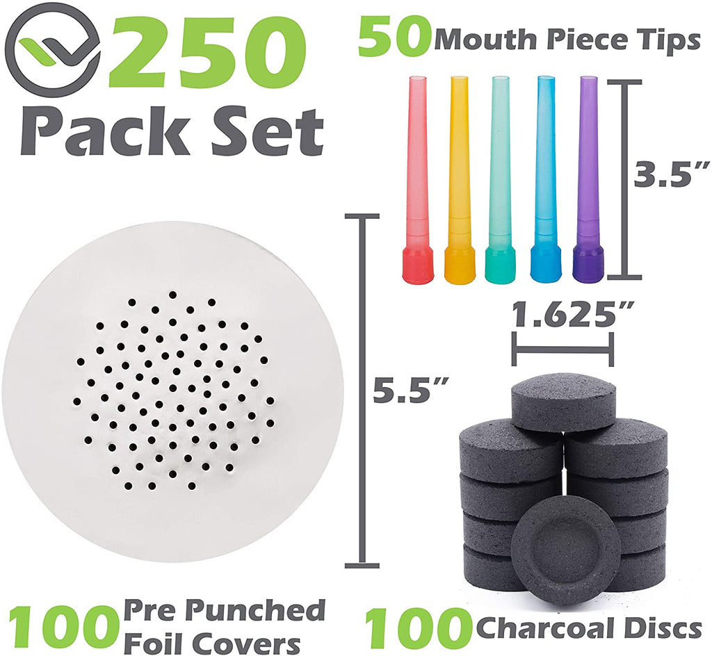 Hookah Accessories Set, Hookah Coals 100 Charcoal Tablets, 50 Disposable Tips Mouthpiece