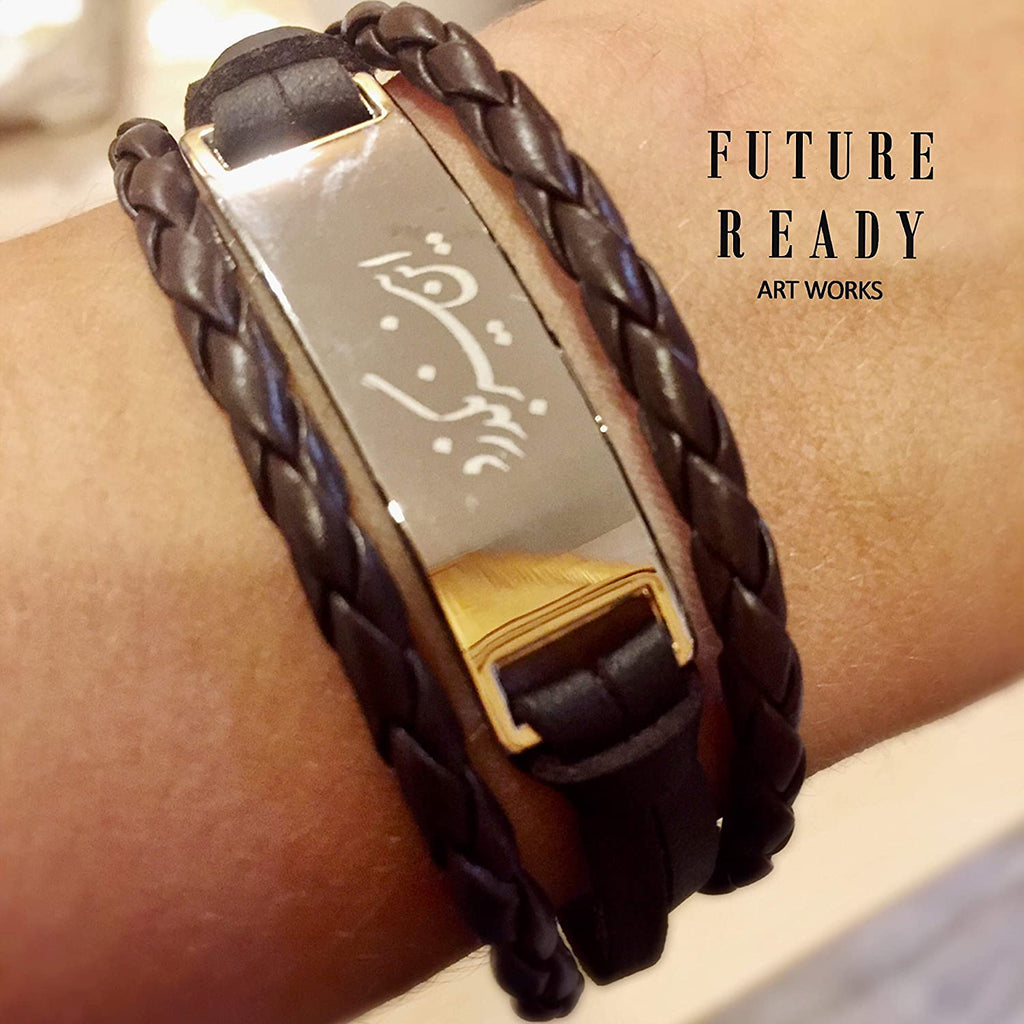 Leather 3 Strand Unisex Bracelet with Calligraphy