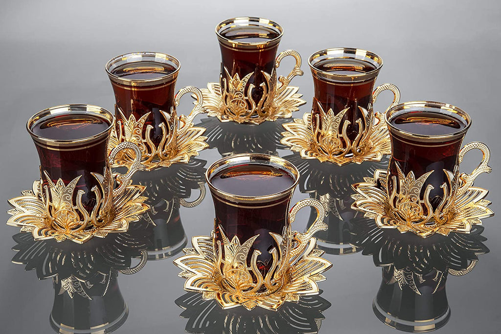 Luxury Turkish Tea Set with Saucers for 6 People