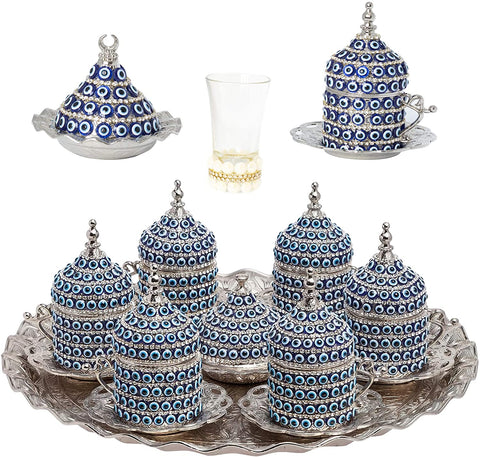 27 Pc Ottoman Turkish Greek Arabic Coffee Espresso Serving Cup Saucer (Evil Eye) … (Silver)