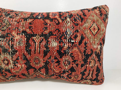 Very Old Persian Kilim Pillow 12x20, ethnic pillow, bohemian pillow