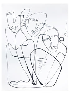 The three of them I One line I unframed