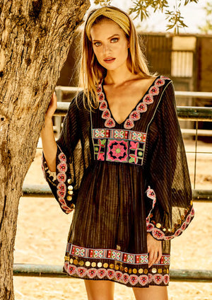 black gold embroidery dress flower embroidery