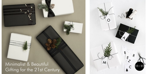 Images of minimalist gift wrapping techniques