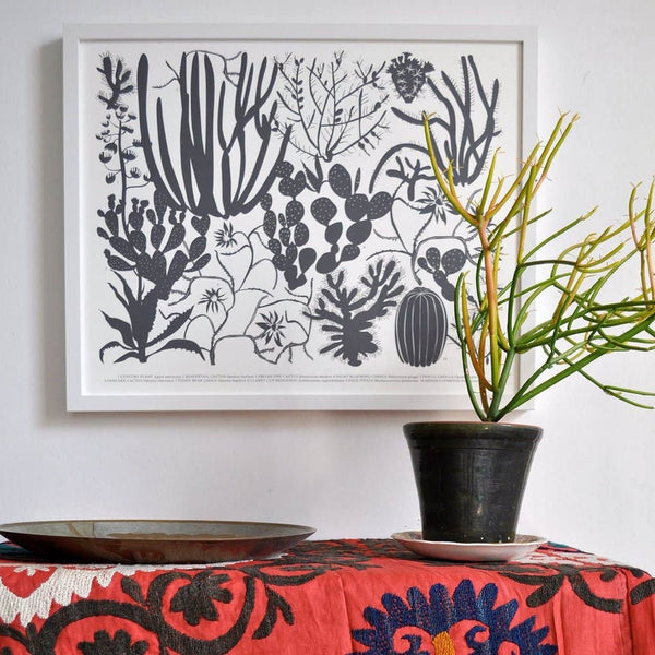 Charcoal Cacti Archival Screen Print - 11:11 Supply