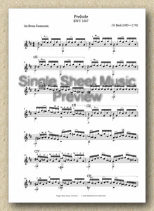 Bach BWV 1007, Prelude (Single Sheet Music)