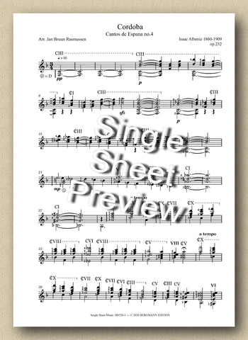 Albeniz, Cordoba (Single Sheet Music)