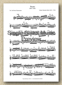 Bach BWV 1001, Presto (Single Sheet Music)