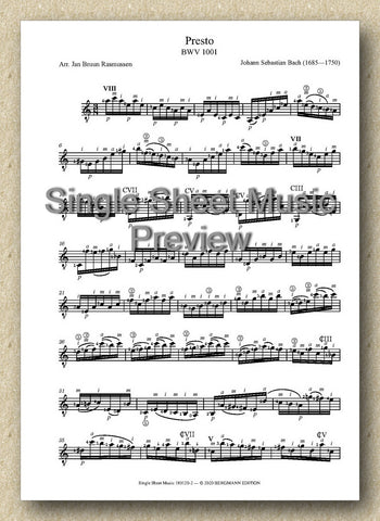 Bach-Rasmussen, BWV 1001, Presto (Single Sheet Music)