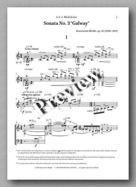 Konstantin Bliokh, Sonata No. 3, GALWAY - preview of the music score 1