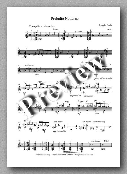Lincoln Brady: Six Preludes, for solo guitar - preview of the music score 3