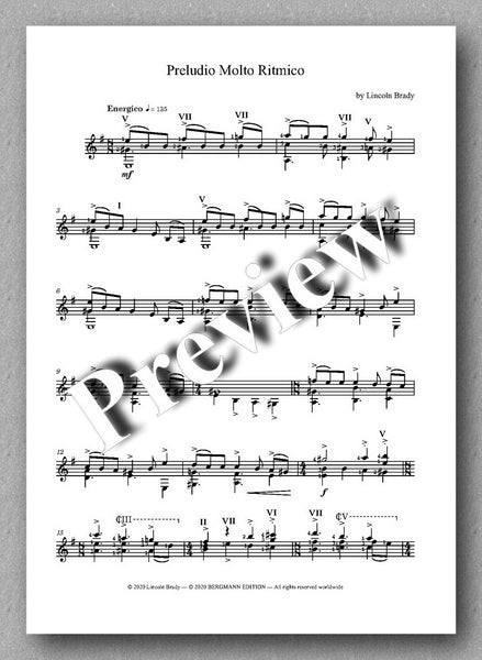 Lincoln Brady: Six Preludes, for solo guitar - review of the music score 4