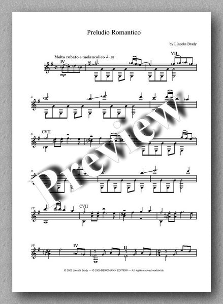 Lincoln Brady: Six Preludes, for solo guitar - preview of the music score 5