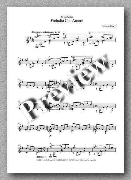 Lincoln Brady: Six Preludes, for solo guitar - preview of the music score 1