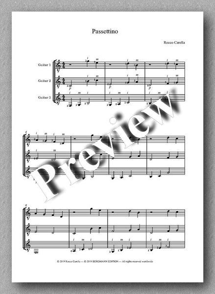 Rocco Carella, Passettino - preview of the music score