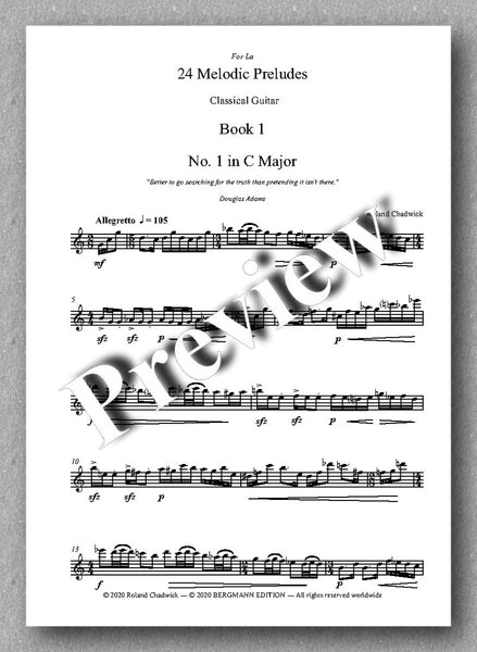 Roland Chadwick, 24 Melodic Preludes, Book 1 - preview of the music score 1