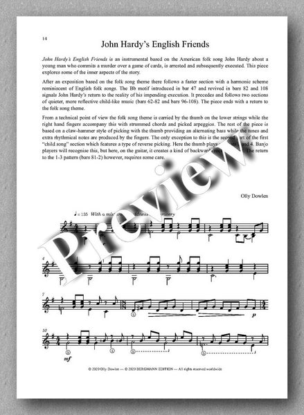 Dowlen, Five Pieces for Solo Guitar - preview of the music cover 4