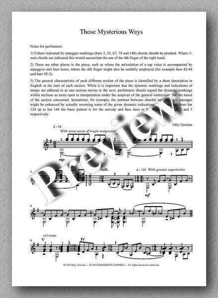 Dowlen, Five Pieces for Solo Guitar - preview of the music cover 5
