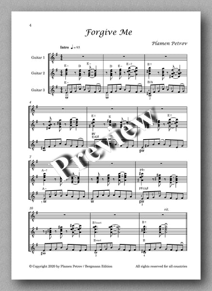 Forgive Me, guitar trio by Plamen Petrov - preview of the music score