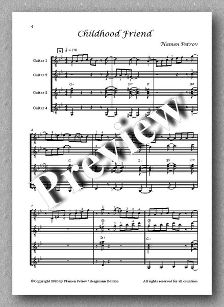 Childhood Friend, guitar quartet no. 14 by Plamen Petrov - preview of the music score