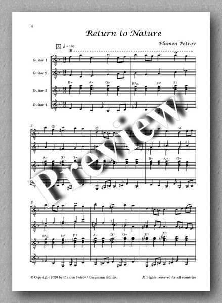 Return to Nature, guitar quartet no. 13 by Plamen Petrov - preview of the music score 1