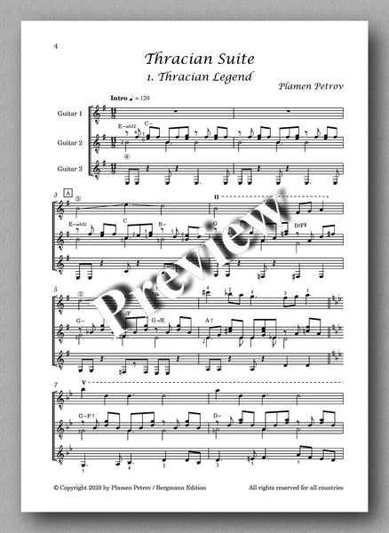 Thracian Suite, guitar trio by Plamen Petrov - preview of the music score 1