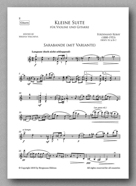 A suite for violin and guitar by Ferdinand Rebay. Preview of the score 2